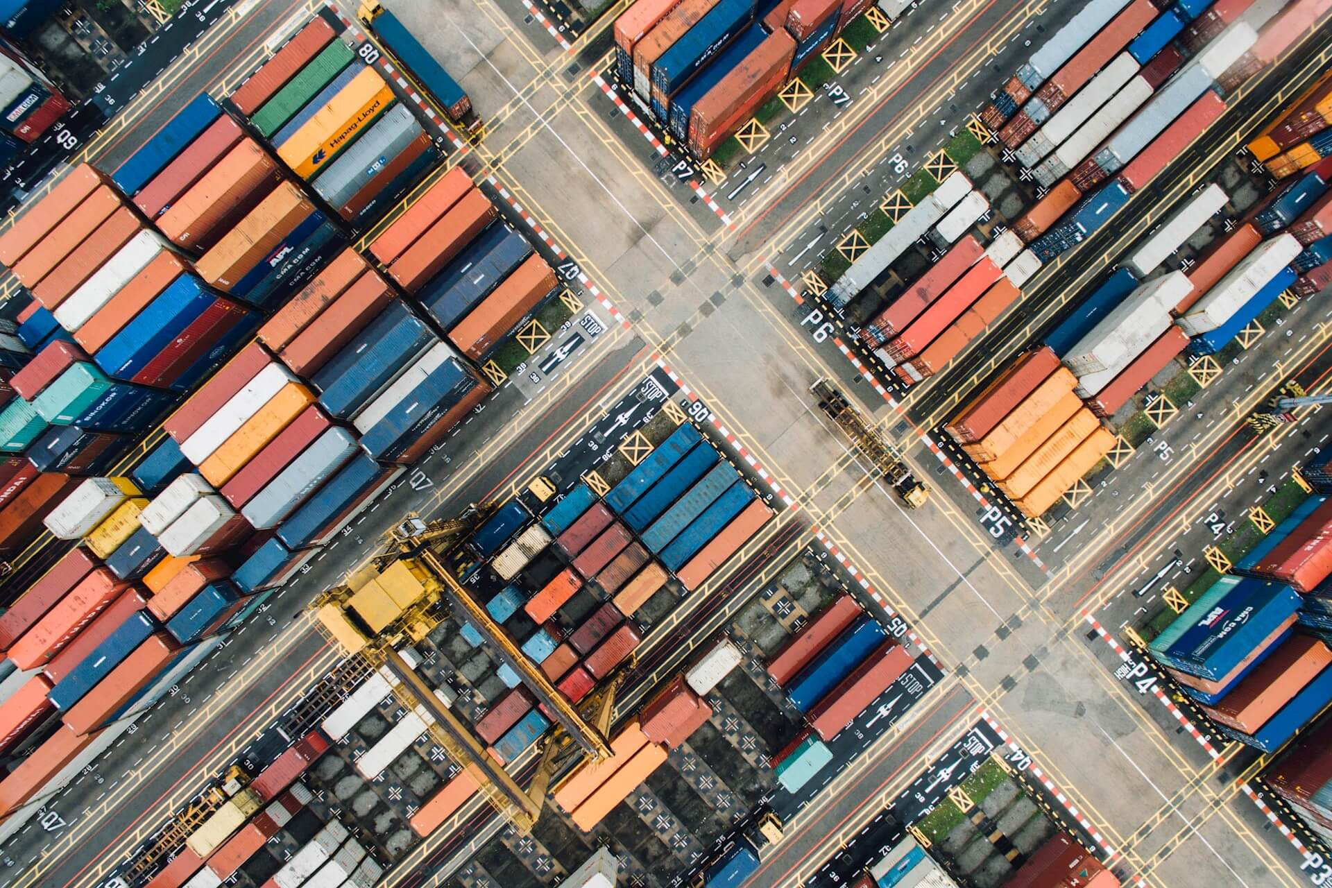 Aerial shot of shipping containers in port