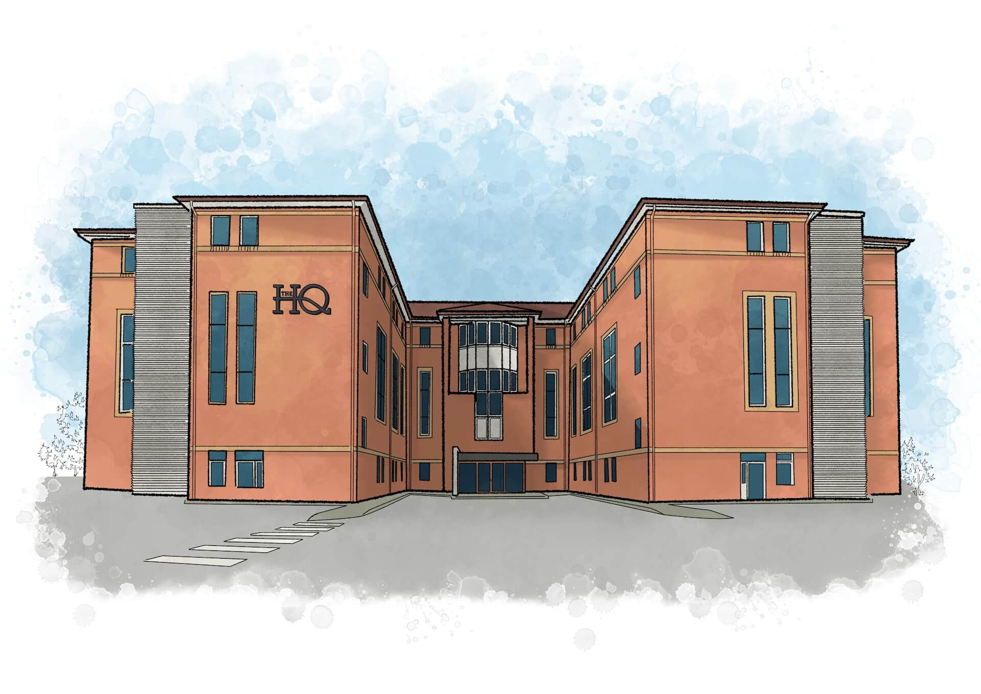 Artist's sketch illustration of The HQ in Chesterfield