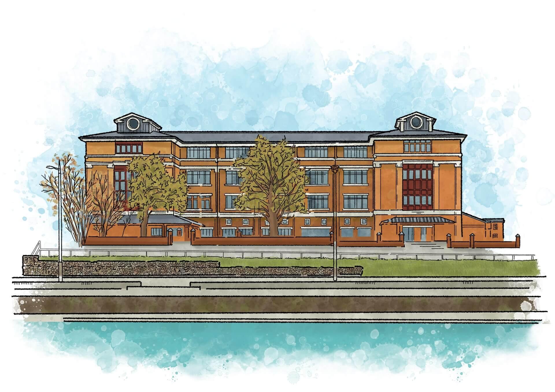Artist's sketch illustration of Southgate House in Gloucester