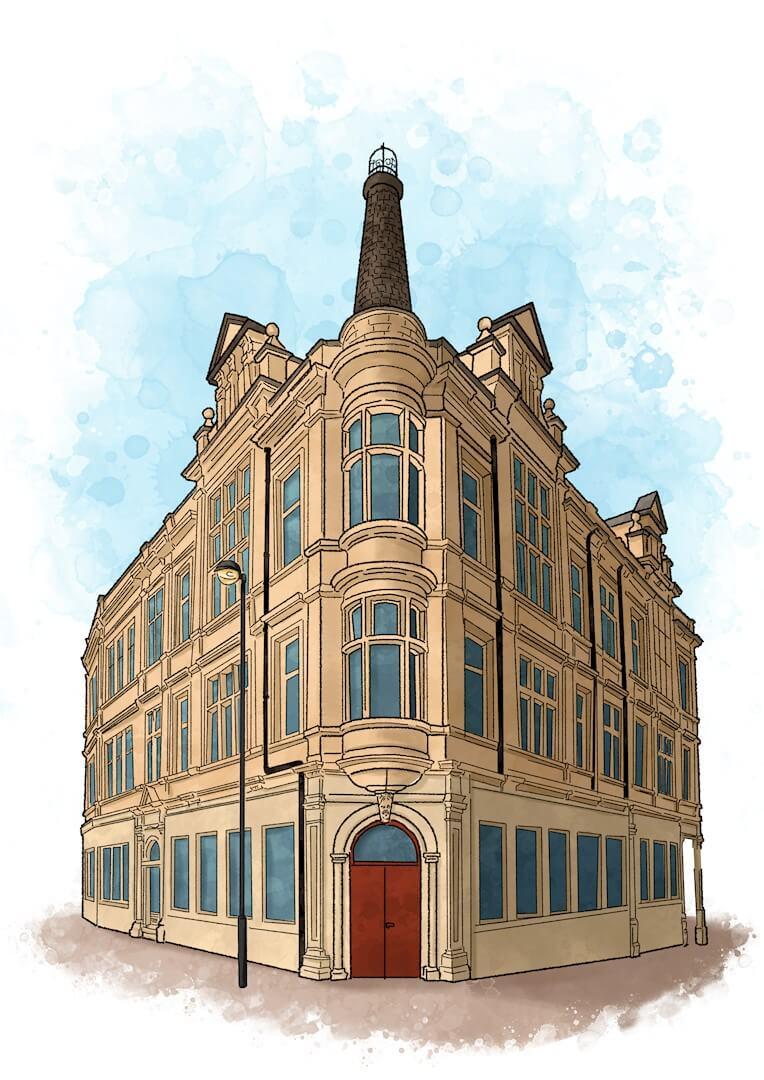 Artist's sketch illustration of Wellington House in Barnsley