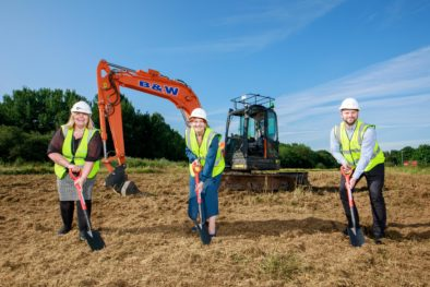 (L-R) Rebecca Morgan, Business Development Manager, Sarah Atherton MP, Matthew Pickles, Head of Industrial Property on site at Wrexham Industrial Estate Site 4